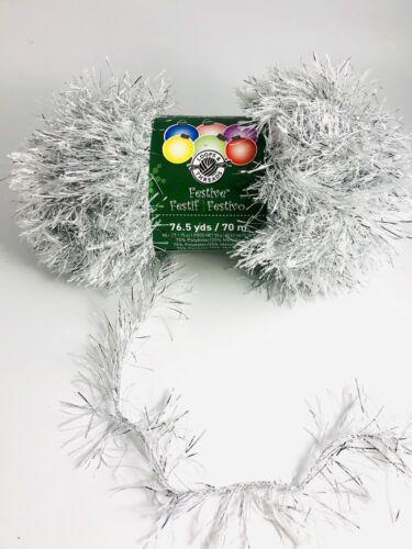 Festive Loops /& Threads Michaels Brand Glitter Eye Lash Yarn Silver Bulky~5