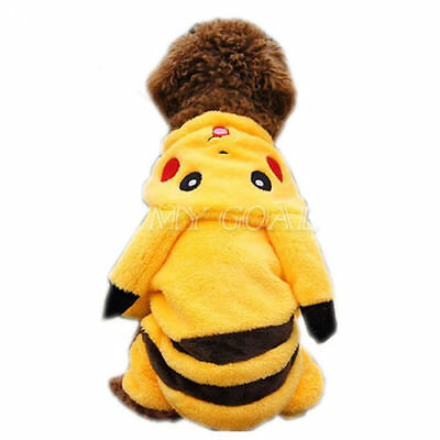 Apparel Outfit Clothes Dog Pikachu Pet Puppy Coat Cat Hoodie Fancy Cute Costume