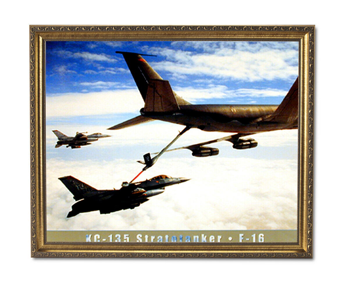 F16 Stratotanker Jet Airplane Wall Picture Gold Framed Art Print