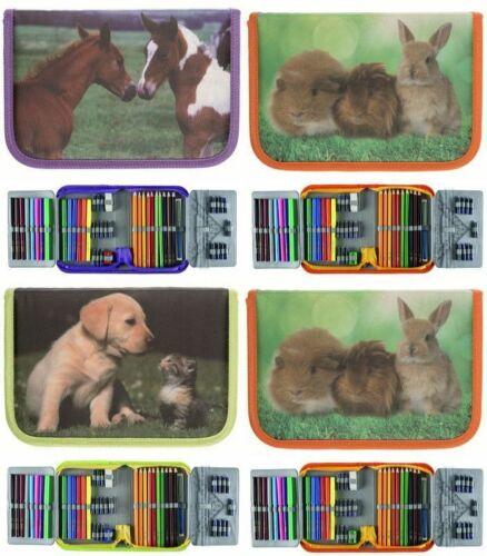IDENA Schüleretui Tierkinder Federmappe Federtasche Etui  gefüllt 50-teilig