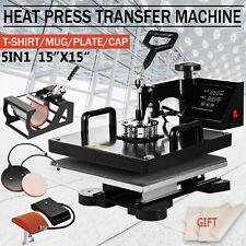 5 In 1 Heat Press Machine Digital Transfer Sublimation T Shirt Mug Hat 15x15