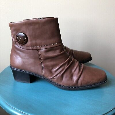 Rieker Women's Ankle Boots Brown Leather Button Cuff Sz 40 US 9.5 M | eBay