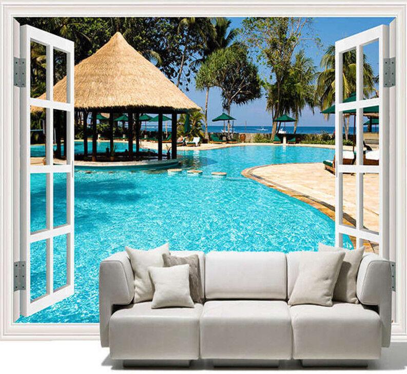 Holiday Window Beach Full Wall Mural Photo Wallpaper Printing 3D Decor Kids Home