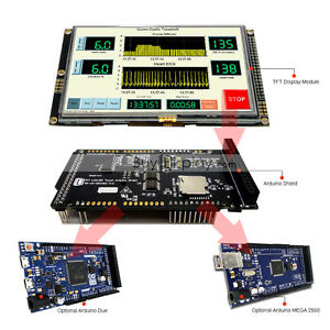 """5"""" inch 800x480 TFT LCD Resistive Touch Shield for Arduino Due,MEGA 2560 Library"""