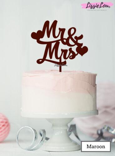 et Mme Wedding Cake Topper avec coeurs Premium 3 mm Acrylique Lissielou M