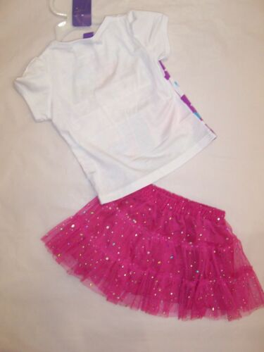 BNWT GIRLS DISNEY FROZEN  WHITE TOP /& PINK SEQUIN SKIRT SIZE 1-6