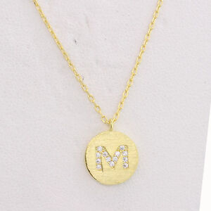 0835f09821b9a Image is loading Initial-M-Necklace-Alphabet-Pendant-Disc-Silver-Letter-
