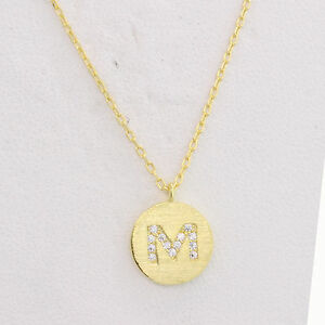 Initial m necklace alphabet pendant disc silver letter m adjustable image is loading initial m necklace alphabet pendant disc silver letter aloadofball Choice Image