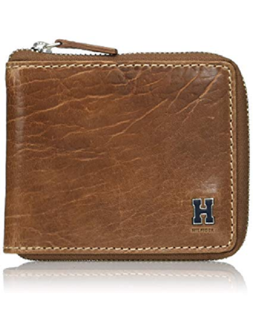 df783e6e5560 Tommy Hilfiger Men s RFID Zip Around Tan Leather Bifold Wallet 31tl130047