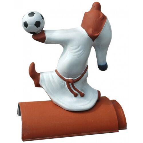 Firstfigur Schlafwandler Fußball weiß glasiert Höhe 42 cm Dachschmuck Keramik