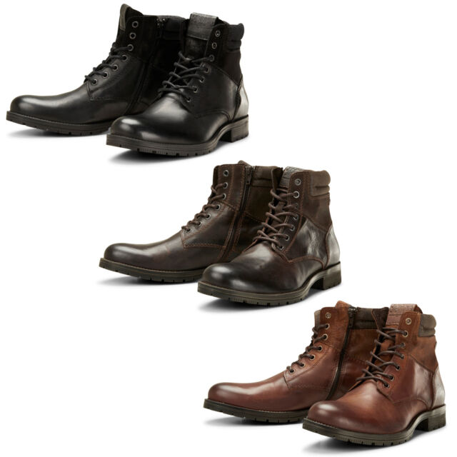new arrival 65348 693e2 Jack & Jones Ankle Boots Mens Leather Lace Up Side Zip Durable Shoes  JFWZachary