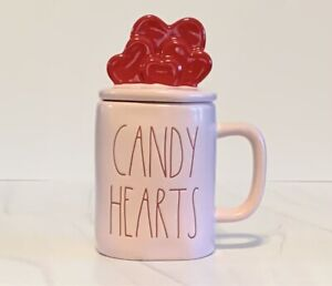 """Rae Dunn Pink """"CANDY HEARTS"""" Ceramic Mug with Red Hearts Topper."""