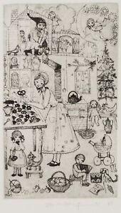 WIECHMANN-Kinderbuchillust-Backende-Mutter-in-der-Kueche-1969-Radierung
