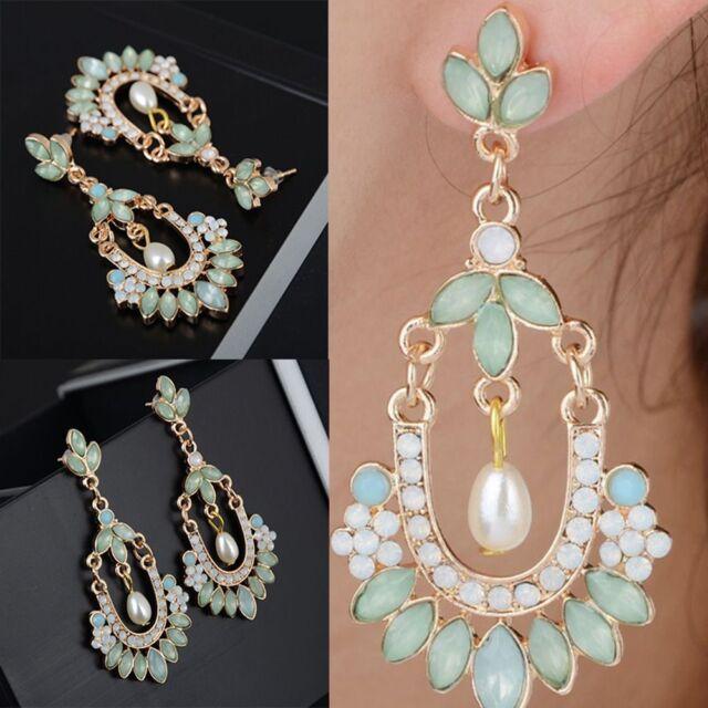 Drop Rhinestone Ear Fashion Dangle Women Stud Earrings Crystal