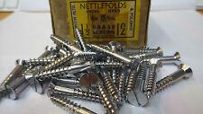 "20 x NETTLEFOLDS 1/"" x 6 CHROME ON BRASS RAISED HEAD SLOTTED SCREWS door handle"