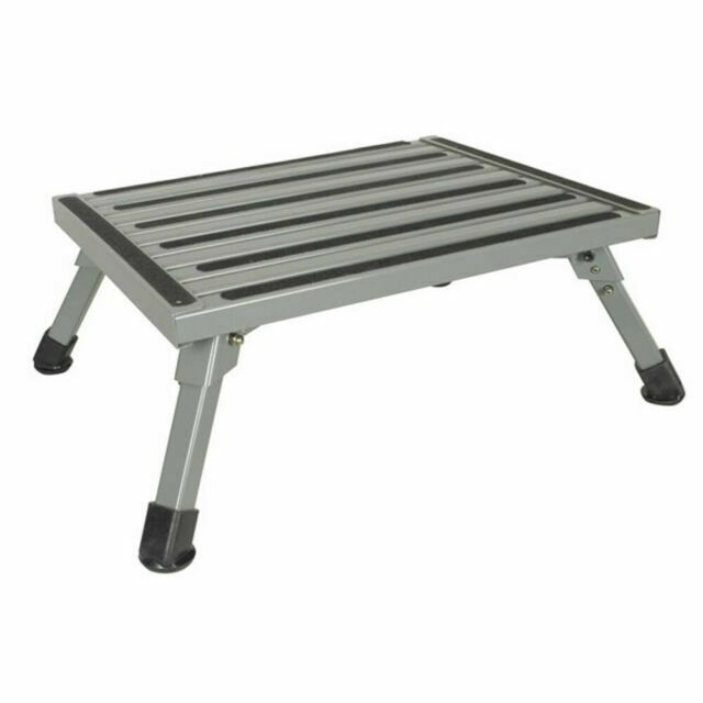 Folding Aluminium Step Stool Loads 200kg Caravan Camping Portable Ladder For Sale Online Ebay