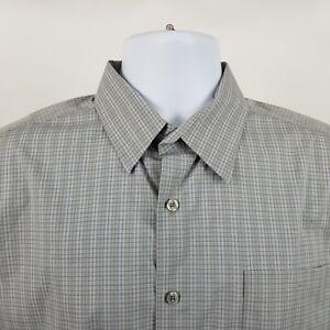 Theory-Mens-Gray-Blue-Check-L-S-Dress-Button-Shirt-Sz-Large-L