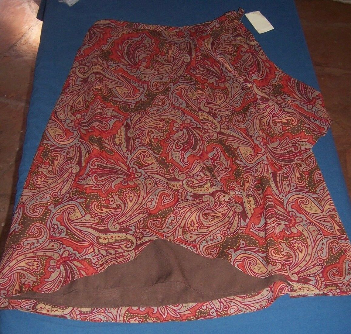 NWT Coldwater Creek Brown Paisley Print polyester MidCalf Skirt Misses Size S