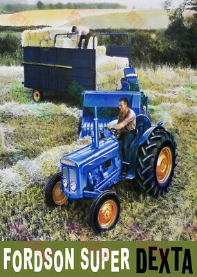 Poster A3 Fordson Major Tractor Perkins Engine Fitted