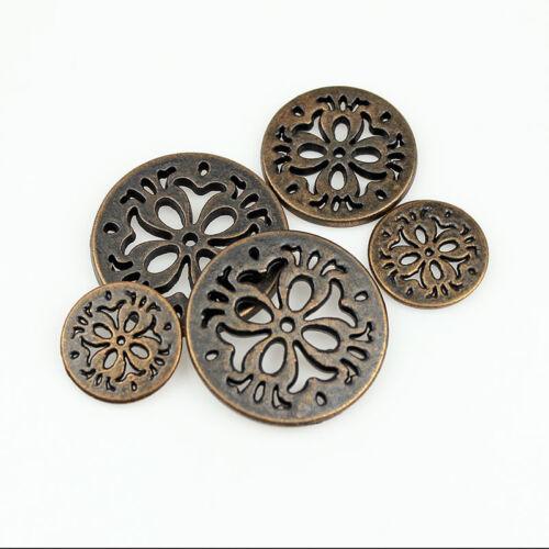 12PCS antique bronze rouge métal ronde quatre trous Yeux Creux boutons 15 20 23 25 mm
