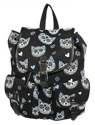 Banned Sugar Skull Kitty Cat Backpack School A4 Bag Tatoo Goth Rock Biker Black