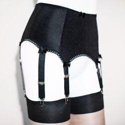 Frauen sexy Strumpfgürtel hohe Taille elastisch Nylon Strapse 6 Metall Schnallen