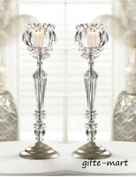 2 Crystal Clear Votive Tall Candlestick Beaded Candle Holder Wedding Centerpiece
