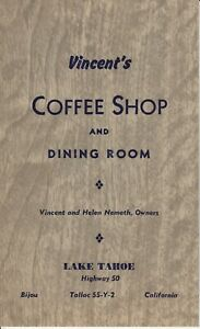 Vintage VINCENT'S COFFEE SHOP & DINING ROOM Menu Bijou Lake Tahoe California