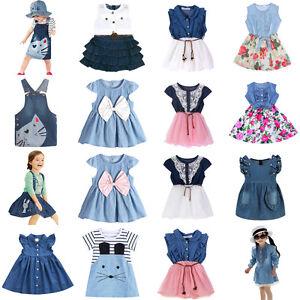 c7d0d3e7a0353 Summer Princess Baby Kids Girls Toddler Denim Jeans Dress Skirt ...