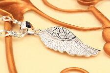 Engel Flügel groß Echt 925 Sterling Silber Neu Silberschmuck Anhänger Zirkonia