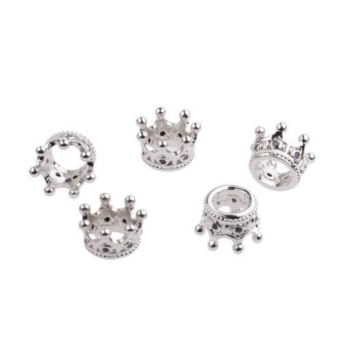 Zircon Gemstones Pave Queen Crown Big Hole Bracelet Connector Charm Beads