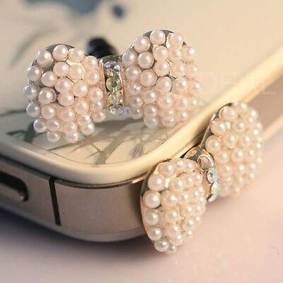 Crystal Pearl Bowknot shaped Cell Phone Headset Dust Plug for IPhone/Ipad Fine
