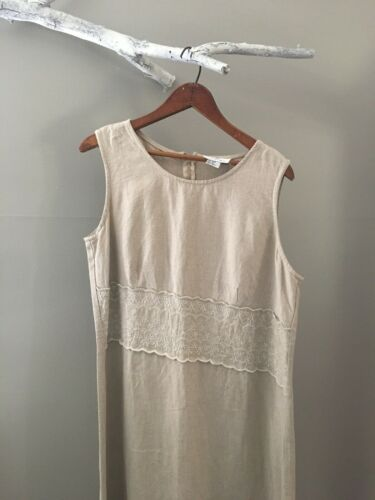 Eileen West Linen Sleeveless Dress Size 16 Embroid