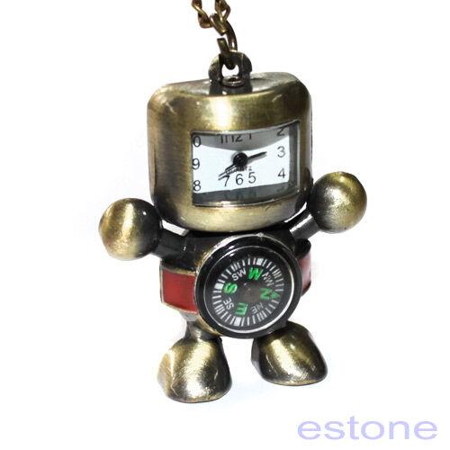 Steampunk Cartoon Robot Compass Dial Quartz Pocket Watch Chain Pendant Necklace