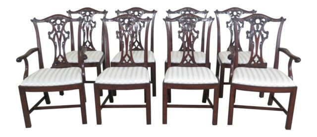 L48373EC: Set Of 8 HENREDON Chippendale Mahogany Dining Room Chairs