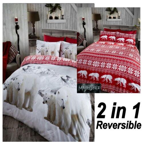 Polar Bear,Reindeer Christmas Fairisle Flannelette Duvet ...