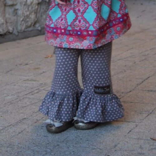 New MATILDA JANE Friends Forever SONIA Big Ruffle Pants Gry//Pink Polka Dots SZ 2