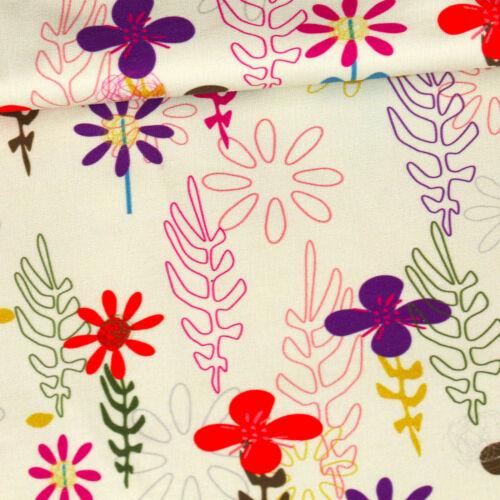 Sonderposten Blumen Sommersweat Blätter 1Meter vorgeschnitten