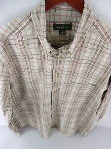 ERMENEGILDO-ZEGNA-Mens-Large-Beige-plaid-Long-Sleeve-Button-Front-B-92