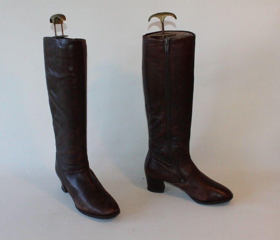 Vintage Marrón Cuero Gabor cremallera punta rojoonda botas botas botas de tacón medio mitad de pantorrilla Talla 4.5 37.5  perfecto