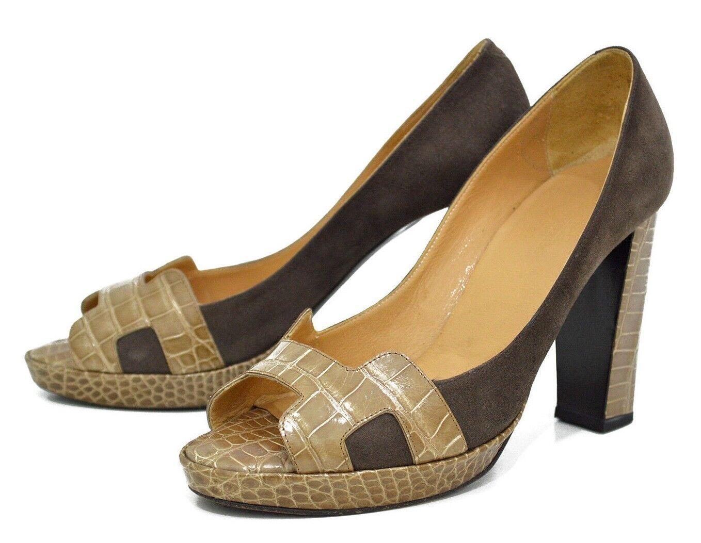 Auth HERMES Exotic Crocodile Leder Peep Toe Platform Heels H Pumps Heels Platform 38 Beige fb5c37