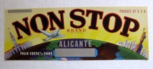 1950s Non Stop Grape Fruit Crate Label