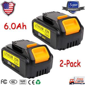 2x For Dewalt Dcb206 2 20v 20 Volt Battery Xr 6 0ah