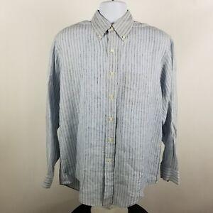 Brooks-Brothers-1818-Irish-Linen-Mens-Striped-L-S-Dress-Button-Shirt-Sz-Medium-M