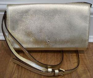 Image is loading KATE-SPADE-Gold-Metallic-Leather-Detachable-Shoulder-Strap- d1bc656af7