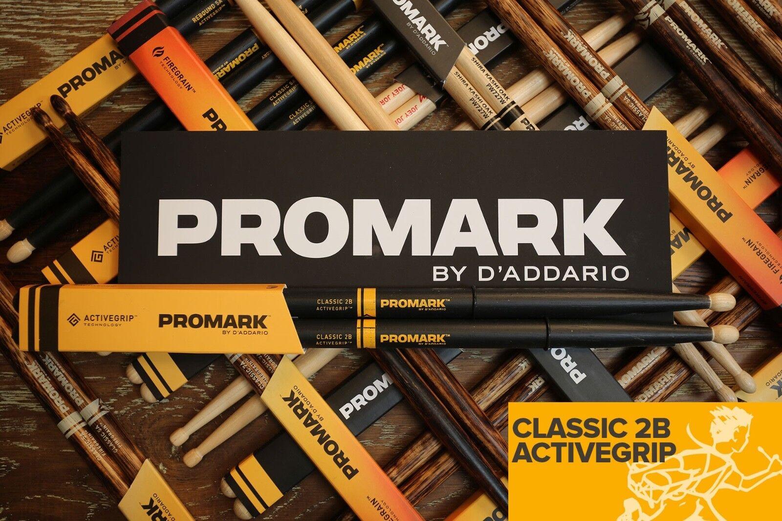 Promark Classic 2B Activegrip Drum Sticks Brick of 6