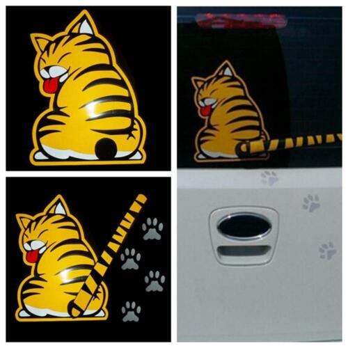 Animal Print Rear Window Wiper Paw Tail Yellow Cat Car Stickers Graphics Decal