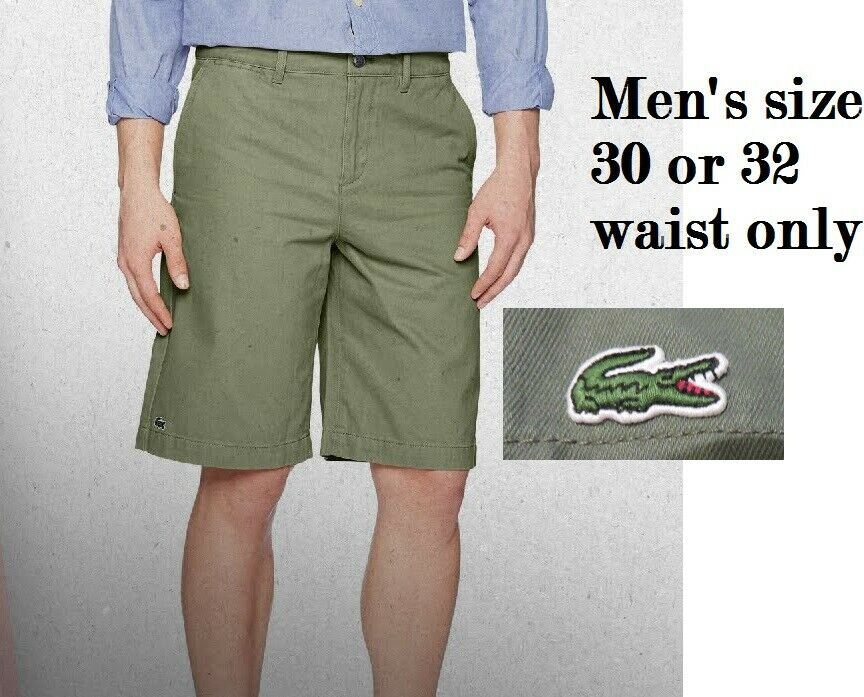 Lacoste Men's 30 or 32 Twill Regular-Fit Bermuda Shorts Army Green FH7421, NWT