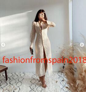 ZARA NEW WOMAN MIDI FITTED DRESS WITH CUTWORK EMBROIDERY ECRU XS-XXL 4786/109