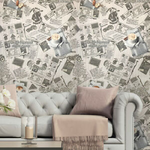 Details About Wallpaper Rolls Gray Vintage Newspaper Textured Wall Coverings 3d Modern Kitchen